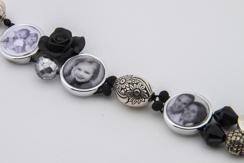 Kralen foto armband zwart zilver