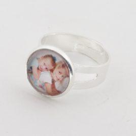 Verstelbare Zilverkleurige Foto Ring.