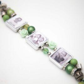 Kralen Armband met 1 Foto Bedel Groen