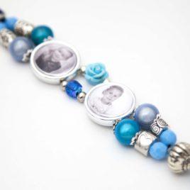 Kralen Armband met 2 Foto Bedels blauw