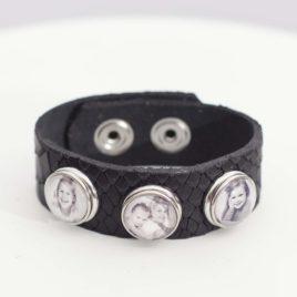 Leren Foto Armband Zwart Slang