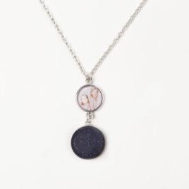 Foto ketting 50cm met blauwe maansteen munt