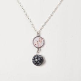 Foto ketting 50cm met sneeuwvlok obsidiaan bal