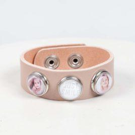 Leren foto armband roze
