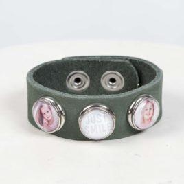 Leren foto armband groen Nubuck