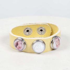 Leren foto armband geel