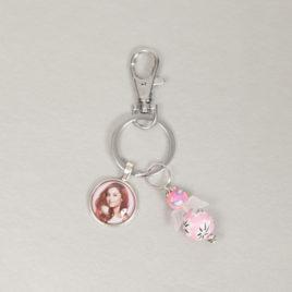 Foto sleutelhanger met 1 ronde foto bedel en roze engel