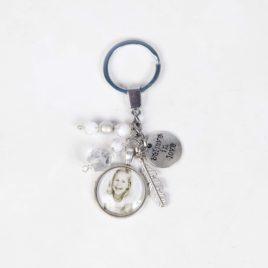 Sleutelhanger wit zilver met 1 foto bedel 20mm rond