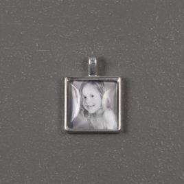 Foto bedel hanger vierkant 20 mm zilverkleurig