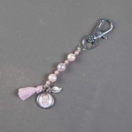 Foto kralen sleutelhanger roze met 1 fotobedel