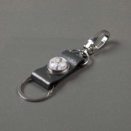 Foto sleutelhanger met 1 chunk leer Zilver