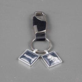 Heren foto sleutelhanger zilver met 2 bedels