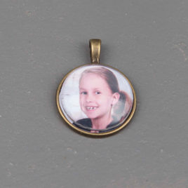 Foto bedel hanger rond 25 mm brons kleurig