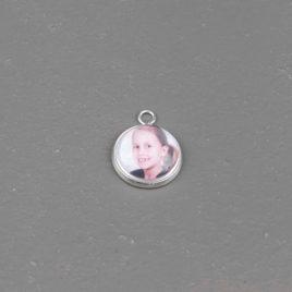 Foto bedel hanger rond 14 mm zilverkleurig