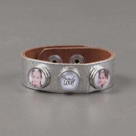 Armband zilver gekraakt met 3 drukkers