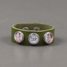 Armband Leer groen glad met 3 drukkers