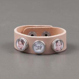 Armband Leer licht roze met 3 drukkers