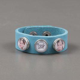 Armband Leer blauw met 3 drukkers