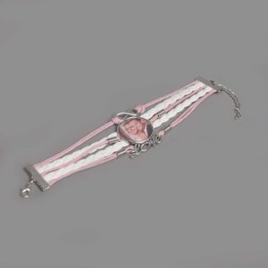 Infinity foto armband wit roze