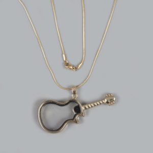 Glazen medaillon gitaar goud met ketting