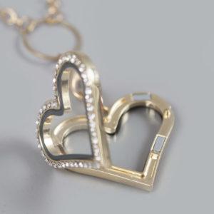 Glazen medaillon hart goud