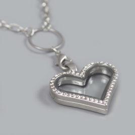 Glazen medaillon hart zilver
