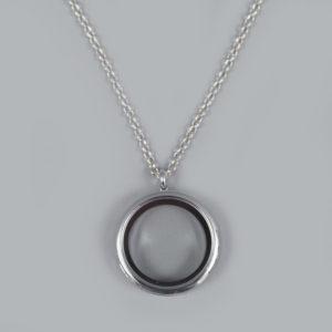 Glazen medaillon rond zilver met ketting
