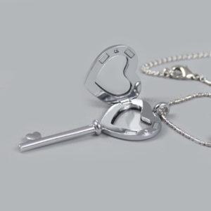 Glazen medaillon sleutel zilver