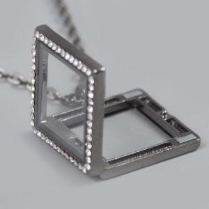 Glazen medaillon vierkant antraciet