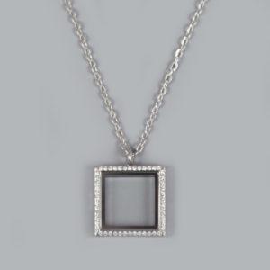 Glazen medaillon vierkant zilver